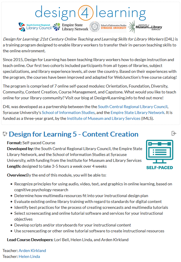 Screenshot of Content Creation Module